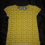 7-8 лет, яркая солнечная футболка TU с сердечками и рюшками
