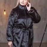 Женская шуба из искусственного меха под норку без капюшона 90 см с 50 по 56 размер мх 243