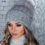 Женская шапка с мехом Монако