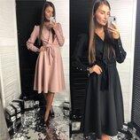 женское платье ниже колен с длинным рукавом лд 613