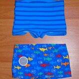 Голубые,синие пляжные плавки,шорты с акулами,2 пары,18-24 мес.,1,5-2 года,92 Новые