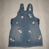 1-2 года, милый джинсовый сарафан F&F с вышитыми цветами и пчёлками
