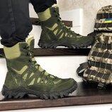 Берцы мужские зимние темно зеленые 8724