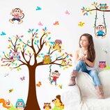 3D интерьерные виниловые наклейки на стены Дерево с Зверями обезьяны- совы- бабочки 90-60 см