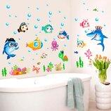 3D интерьерные виниловые наклейки на стены Рыбки с Акулой - Черепашкой- Китом и др 70-50 см