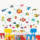 3D интерьерные виниловые наклейки на стены Рыбки - Осьминог - Рак - Водоросли и др 60-45 см