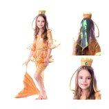 Новогодний костюм Золотая рыбка, на 7-10 лет, 122-140 см.