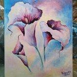 Картина маслом на холсте цветы Деревянный подрамник. Размер 20х24 см