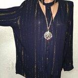 Шикарная нарядная вечерняя тёмно-синяя блуза туника с золотым люрексом р.12 48-50-52 пог 60