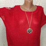 Шикарная мягенькая яркая кофточка с красивой вязкой и открытыми плечами р.14 50-52-54-56 пог 64