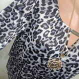 Стильная Леопардовая Шикарная нарядная яркая блуза с люрексом р.14 46-48-50 пог 54