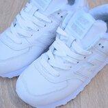 Зимние женские кроссовки New Balance 574 Leather White | 37-40