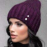 Женская теплая шапка бини с отворотом 1018