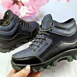 Зимние ботинки на мальчика р-р 32-38 фирма lilin синие с черным
