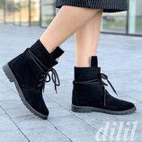 Ботинки женские зимние замшевые кожаные черные на шнурках, полуботинки