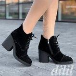 Ботинки ботильоны женские зимние замшевые кожаные черные на каблуке