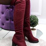 Женские зимние замшевые сапоги ботфорты на каблуке, бордо