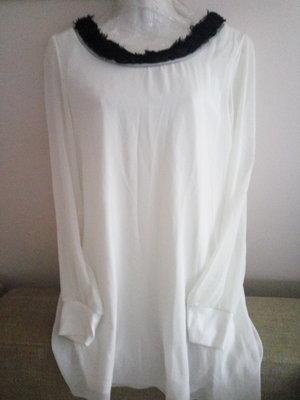 Шикарная Белоснежное платье-туника, с шифоновыми рукавами и розами uk 14 р.