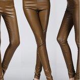 Лосины теплые коричневые из кожи pu высокой талией на флисе рост 170-175 см