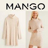 Удлиненный свитер под горло, туника mango, m-l в составе шерсть