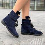 Ботинки женские зимние замшевые кожаные темно синие на шнурках, полуботинки