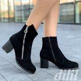 Ботинки ботильоны женские зимние замшевые кожаные черные , полусапожки на каблуке