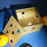 Подарочная коробка из дерева золото , коробка для подарков деревянная gold
