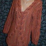 Платье-Свитер S/M, свитер-туника, свитер крупной вязки, вязаное теплое платье, теплое платье, свитер