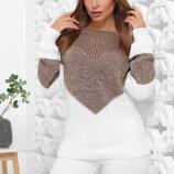 Вязаный женский оригинальный свитер р.44-52