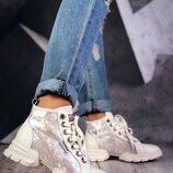 Женские шикарные бежевые ботинки натуральная кожа