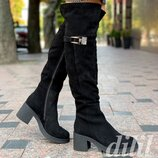 Сапоги ботфорты женские зимние замшевые кожаные черные на танкетке на толстом каблуке