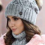 женский вязаный комплект Энеис шапка и шарф-хомут бр 4638-7