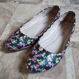 Балетки туфли женские цветочный принт