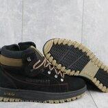 Зимние мужские ботинки Caterpillar, черные натур.нубук