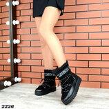 Женские натуральные замшевые кожаные зимние чёрные серебряные сапоги сапожки дутики луноходы