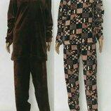 Пижама теплая махровая мужская однотонная клетка, махра велсофт, 48-50-52-54-56-58
