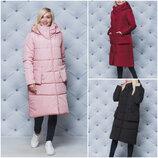 Стильное женское зимнее пальто с капюшоном 3 цвета