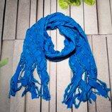 Теплый детский шарф из флиса голубой