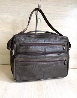 мужская кожаная сумка для документов А4. Черная и коричневая
