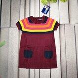 Трикотажная туника для девочки сливового цвета с яркими полосами