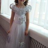 Прокат белое платье Снегурочка, снежинка, снежная королева на 5-8 лет, корона, киев