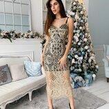 Красивое платье гипюр с блестками кружевное два цвета