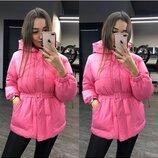 Женская куртка объемная зефирка розовая