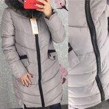 Женская длинная куртка парка пуховик uniqloоk с толстой молнией серая