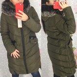 Женская длинная куртка парка пуховик uniqloоk с толстой молнией зеленая