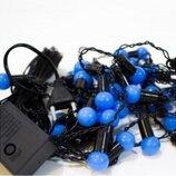 Гирлянда Шарики синие 40 led на черном проводе