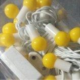 Гирлянда Шарики желтые 40 led на белом проводе
