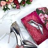Женские туфли лодочки серебро