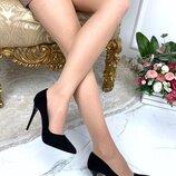 Женские туфли лодочки чёрные, замшевые