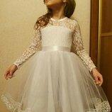 Нарядное платье для девочки праздничное новогоднее белое пышное платье на девочку платье выпускной